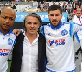 Andre AYEW / Vincent LABRUNE / Andre Pierre GIGNAC / Rod FANNI - 23.05.2015 - Marseille / Bastia - 38e journee Ligue 1 Photo : Gaston Petrelli / Icon Sport
