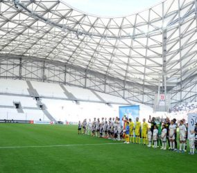 Entree des joueurs / huis clos partiel / Tribune vide  - 27.09.2015 - Marseille / Angers  - 8eme journee de Ligue 1 Photo : Gaston Petrelli / Icon Sport