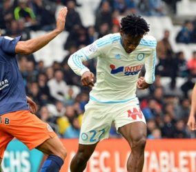 Michy BATSHUAYI - 06.12.2015 - Marseille / Montpellier - 17e journee Ligue 1 Photo : Gaston Petrelli / Icon Sport