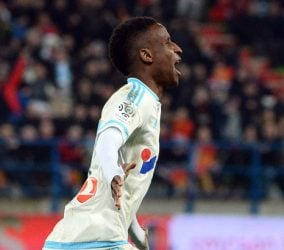 Joie Marseille /  Bouna SARR - 17.01.2016 - Caen / OM - 21eme journee de  Ligue 1 Photo : Gaston Petrelli  / Icon Sport