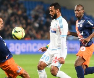 Alaixys Romao / Vitorino Hilton - 02.02.2016 - Montpellier / Marseille - 24e journee de Ligue 1 Photo : Alexandre Dimou / Icon Sport