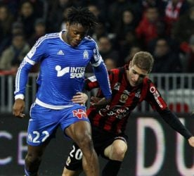 Michy BARSHUAYI / Maxime LE MARCHAND  - 14.02.2016 - Nice / Marseille - 26eme journee de Ligue 1 Photo : JC Magnenet / Icon Sport *** Local Caption ***