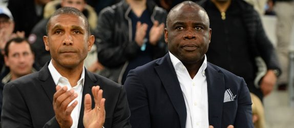 Franck Passi and Basile Boli of Marseille during the football french Ligue 1 match between Olympique de Marseille and Stade de Reims at Stade Velodrome on May 7, 2016 in Marseille, France. (Photo by Mathieu Valro/Icon Sport)