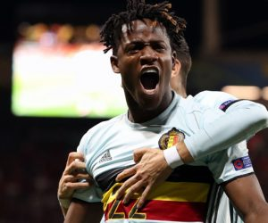 Belgium's Michy Batshuayi celebrates after scoring the 0-2 goal during a soccer game between Belgian national soccer team Red Devils and Hungary, in the round of 16 of the UEFA Euro 2016 European Championships, on Sunday 26 June 2016, in Toulouse, France. The Euro2016 tournament is taking place from 10 June to 10 July. Photo : Fahy / Belga / Icon Sport