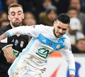Sergi Darder of Lyon and Remy Cabella of Marseille during the french national cup match between Olympique de Marseille v Olympique Lyonnais Lyon, Round of 32,  at Stade Velodrome on January 31, 2017 in Marseille, France. (Photo by Alexandre Dimou/Icon Sport)