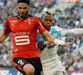 Pedro MENDES of Rennes and Clinton NJIE of Marseille during the French Ligue 1 match between Marseille and Rennes at Stade Velodrome on February 18, 2017 in Marseille, France. (Photo by Mathieu Valro/Icon Sport)