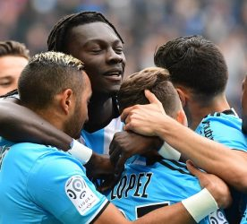 Joy for Maxime Lopez of Marseille (27) as he puts his side 2-0 ahead during the French Ligue 1 match between Caen and Marseille at Stade Michel D'Ornano on April 30, 2017 in Caen, France. (Photo by Dave Winter/Icon Sport)