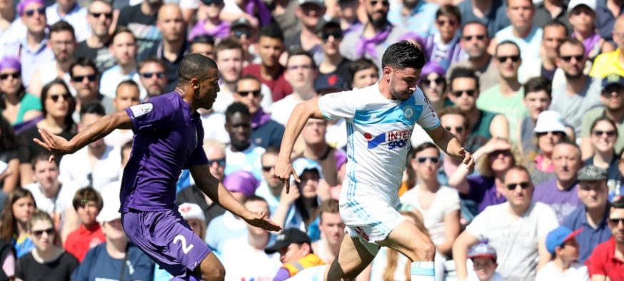 Morgan Sanson during the Ligue 1 match between Toulouse FC and Olympique de Marseille at Stadium Municipal on April 9, 2017 in Toulouse, France. (Photo by Manuel Blondeau/Icon Sport)