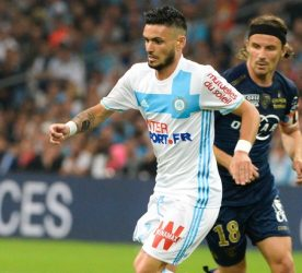 Yannick Cahuzac of Bastia and Remy Cabella of Marseille during the Ligue 1 match between Olympique de Marseille and SC Bastia at Stade Velodrome on May 20, 2017 in Marseille, France. (Photo by Mathieu Valro/Icon Sport)
