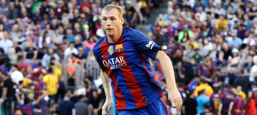15.10.2016. Nou Camp, Barcelona, Spain. La Liga Football. Barcelona versus Deportivo; Jeremy Mathieu breaks forward with the ball  Photo : Boluda / Actionplus / Icon Sport