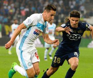 Florian Thauvin of Marseille and Yannick Cahuzac of Bastia during the Ligue 1 match between Olympique de Marseille and SC Bastia at Stade Velodrome on May 20, 2017 in Marseille, France. (Photo by Mathieu Valro/Icon Sport)
