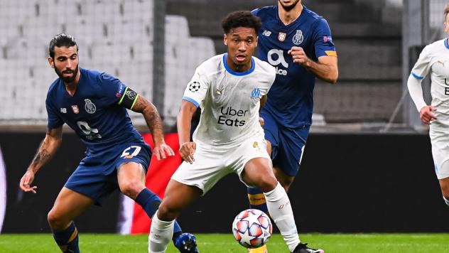 Boubacar Kamara lors du match OM Porto