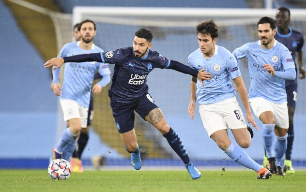 Morgan Sanson en duel avec Eric Garcia Manchester City OM